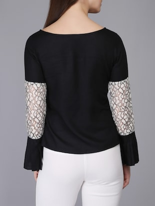 lace insert bell sleeved top - 15726285 - Standard Image - 3