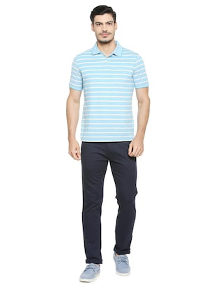blue cotton blend chinos - 15727650 - Standard Image - 3