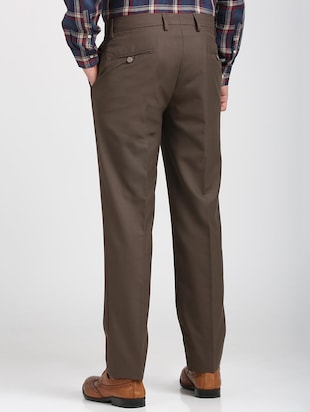 brown polyester blend flat front trousers formal - 15727697 - Standard Image - 3