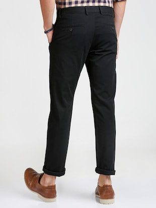 black cotton blend chinos - 15727701 - Standard Image - 3