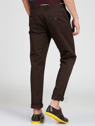 brown cotton blend chinos - 15727702 - Standard Image - 3