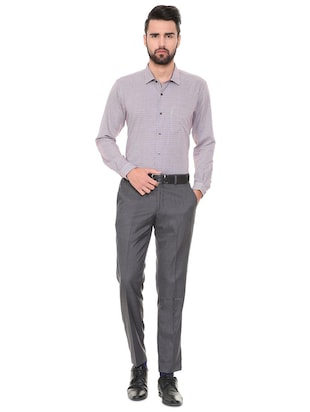 grey polyester blend flat front trousers formal - 15727705 - Standard Image - 3