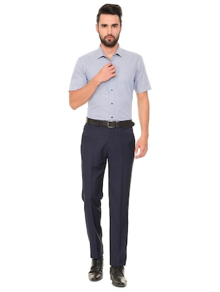 navy blue terry rayon flat front formal trouser - 15727738 - Standard Image - 3