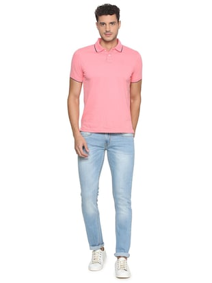 blue cotton blend washed jeans - 15728247 - Standard Image - 3