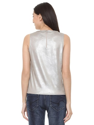 zipper closure sleeveless top - 15728397 - Standard Image - 3