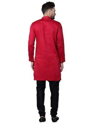 red cotton asymmetric kurta pyjama set - 15729234 - Standard Image - 3