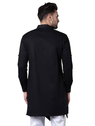 black cotton asymmetric kurta - 15729285 - Standard Image - 3