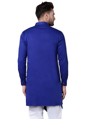 blue cotton asymmetric kurta - 15729286 - Standard Image - 3