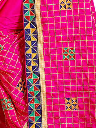 geometrical resham embroidered saree with blouse - 15729725 - Standard Image - 3