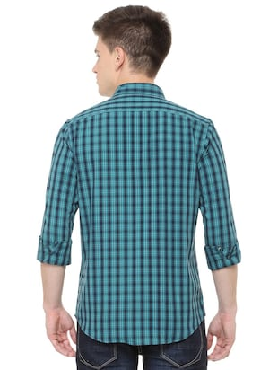 blue cotton casual shirt - 15729827 - Standard Image - 3