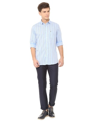 blue cotton casual shirt - 15729829 - Standard Image - 3