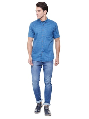 blue cotton casual shirt - 15729840 - Standard Image - 3