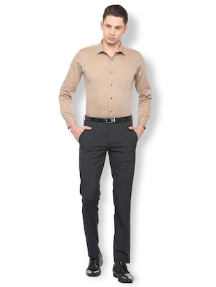 brown cotton formal shirt - 15729859 - Standard Image - 3