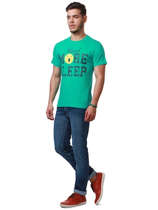 green cotton chest print t-shirt - 15729906 - Standard Image - 3