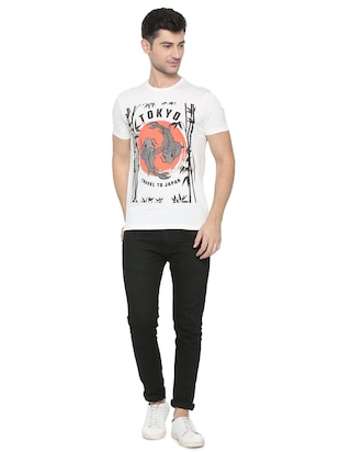 white cotton front print t-shirt - 15729999 - Standard Image - 3