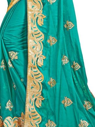 turquoise embroidered saree with blouse - 15730023 - Standard Image - 3