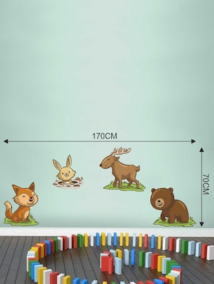 Wall Decals ' Baby Animals Sticker '  Wall stickers (PVC Vinyl) Multicolour - 15730249 - Standard Image - 3