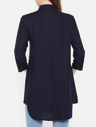 navy blue button detail tunic - 15730327 - Standard Image - 3