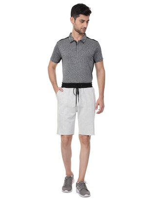 grey cotton blend shorts - 15730848 - Standard Image - 3