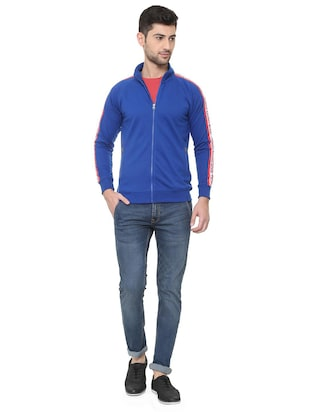 blue polyester casual jacket - 15730867 - Standard Image - 3