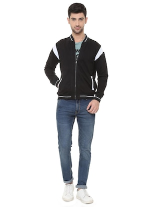 black polyester casual jacket - 15730868 - Standard Image - 3