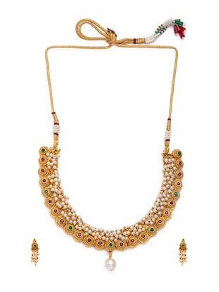 Gold Tone Necklace & Earrings Set - 15731236 - Standard Image - 3