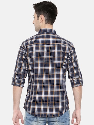 blue cotton casual shirt - 15731554 - Standard Image - 3