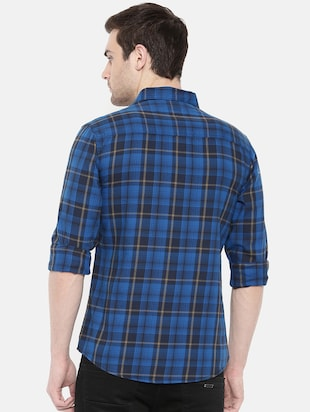 blue cotton casual shirt - 15731586 - Standard Image - 3