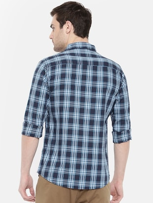 blue cotton casual shirt - 15731592 - Standard Image - 3