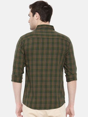 green cotton casual shirt - 15731600 - Standard Image - 3