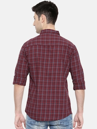 red cotton casual shirt - 15731617 - Standard Image - 3