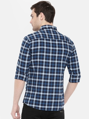 blue cotton casual shirt - 15731623 - Standard Image - 3