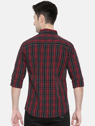 red cotton casual shirt - 15731625 - Standard Image - 3