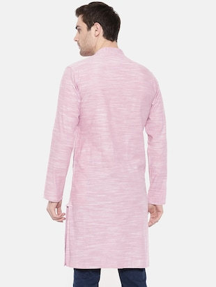 pink cotton long kurta - 15731641 - Standard Image - 3