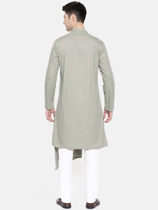 grey cotton asymmetric kurta - 15731660 - Standard Image - 3