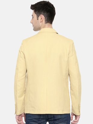beige cotton single breasted blazer - 15731677 - Standard Image - 3
