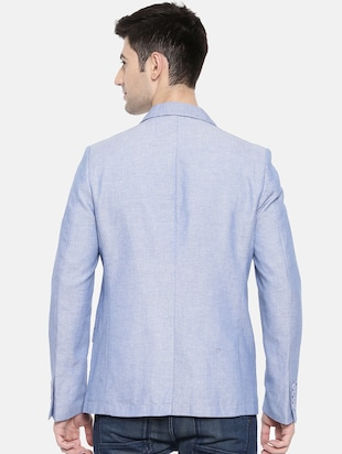 light blue cotton single breasted blazer - 15731678 - Standard Image - 3
