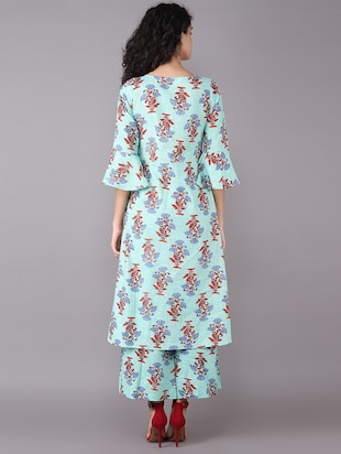 Printed bell sleeved kurta with palazzo set - 15731809 - Standard Image - 3