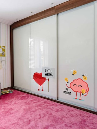 Rawpockets Wall Decals ' Heart and Brain Fight '  Wall stickers (PVC Vinyl) Multicolour - 15733873 - Standard Image - 3
