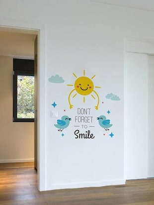 Rawpockets Wall Decals ' Don't Forget To Smile  '  Wall stickers (PVC Vinyl) Multicolour - 15733875 - Standard Image - 3