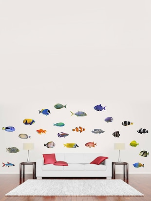 Rawpockets Wall Decals ' Living Room Fish Family '  Wall stickers (PVC Vinyl) Multicolour - 15733893 - Standard Image - 3