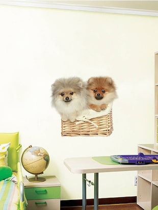 Rawpockets Wall Decals ' Cute Puppies on Basket '  Wall stickers (PVC Vinyl) Multicolour - 15733907 - Standard Image - 3