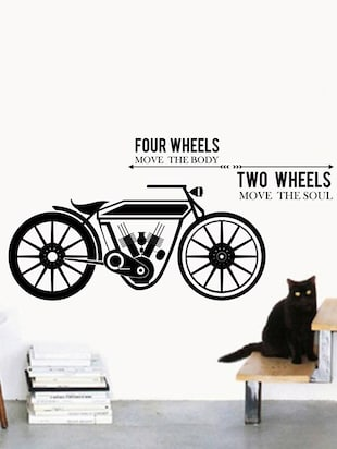 Rawpockets Wall Decals ' Four Wheels Two Wheels '  Wall stickers (PVC Vinyl) Multicolour - 15733916 - Standard Image - 3