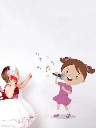 Rawpockets Wall Decals ' Girl Singing Songs '  Wall stickers (PVC Vinyl) Multicolour - 15733931 - Standard Image - 3