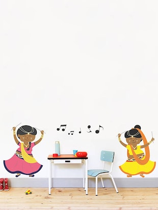 Rawpockets Wall Decals ' Dandiya with Music '  Wall stickers (PVC Vinyl) Multicolour - 15733936 - Standard Image - 3