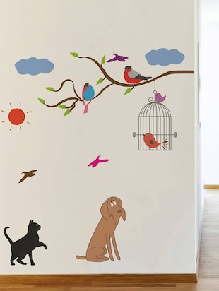 Rawpockets Wall Decals ' Birds and Animals  '  Wall stickers (PVC Vinyl) Multicolour - 15733939 - Standard Image - 3