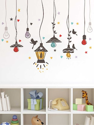 Rawpockets Wall Decals ' Birds Nest and Lights Sparkling '  Wall stickers (PVC Vinyl) Multicolour - 15733941 - Standard Image - 3