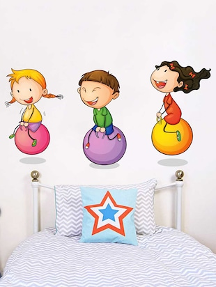 Rawpockets Wall Decals ' Kids Playing Ball Game '  Wall stickers (PVC Vinyl) Multicolour - 15733942 - Standard Image - 3