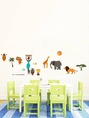 Rawpockets Wall Decals ' African Tribe Story '  Wall stickers (PVC Vinyl) Multicolour - 15734021 - Standard Image - 3