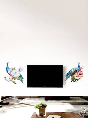 Rawpockets Wall Decals ' Peacock Pair on Flowers '  Wall stickers (PVC Vinyl) Multicolour - 15734022 - Standard Image - 3